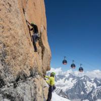 climbers on the Route Rèbuffat 6a Aigulle du Midi, Chamonix