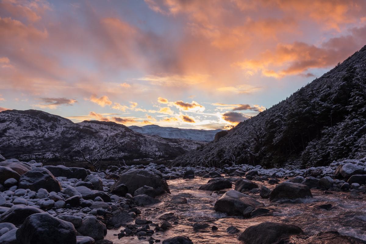 Sonnenaufgang am Weg zum Mojon Rojo
