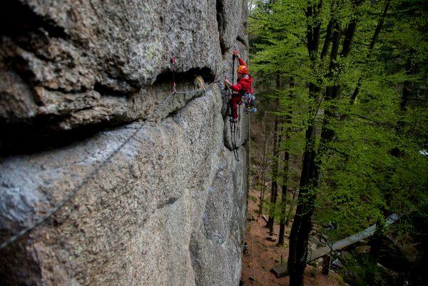 Techno Klettern aid climbing Mönch Mühlviertel
