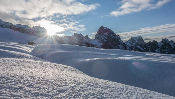 Großglockner Normalweg Sonnenaufgang Neuschnee