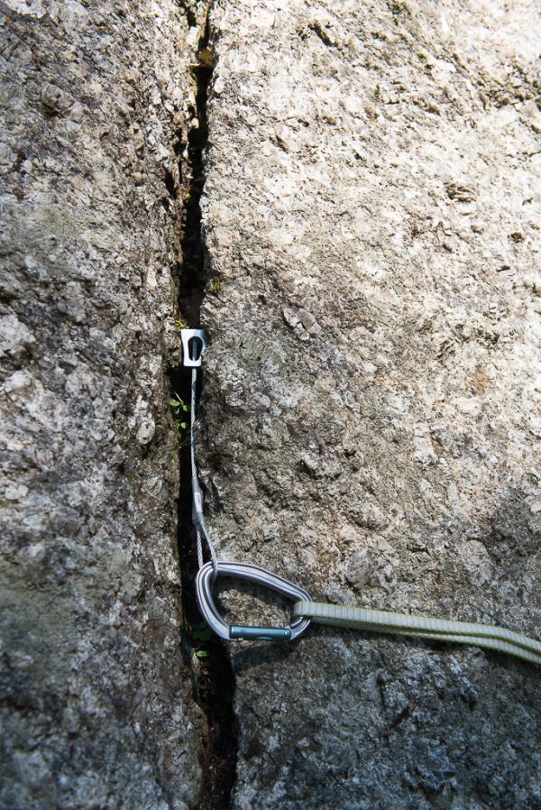 trad klettern Klemmkeilpacement